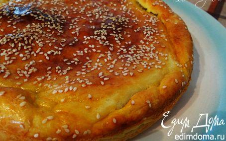 Рецепт На скорую руку: Пирог с зеленым луком и яйцами на сметанном тесте