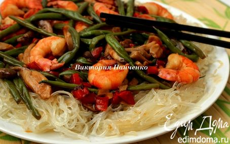 Рецепт Чап-чой с креветками, грибами и стручковой фасолью