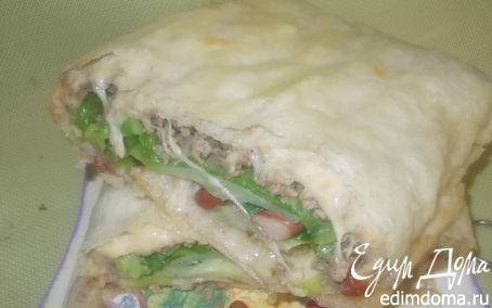 Рецепт Мясной пирог-рулет с фасолью
