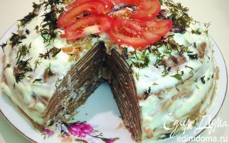 Рецепт Печеночный торт с грибами