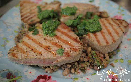 Рецепт Стейки из тунца с фасолью и соусом песто