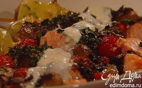 """Рецепт Шашлычки из лосося с молодой картошкой под чесночным соусом """"айоли"""""""