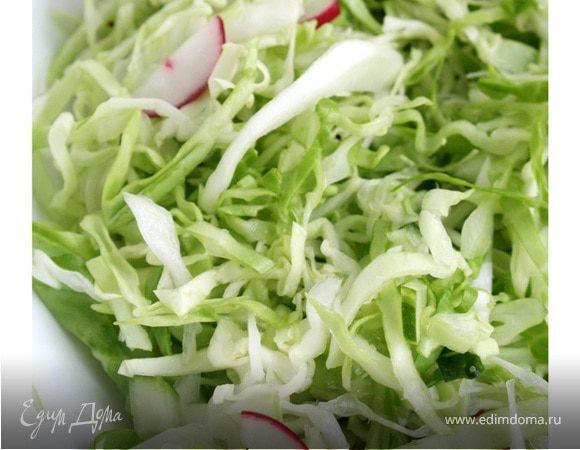 Салат капустный с редисом и огурцом