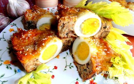 Рецепт Воскресное мясное кольцо с печенью и грибами