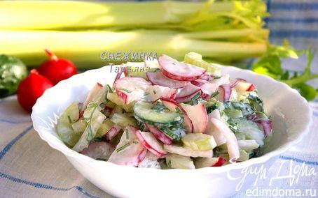 рецепт салат с редисом и огурцом и