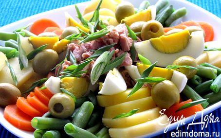Рецепт Салат с тунцом и зеленой фасолью