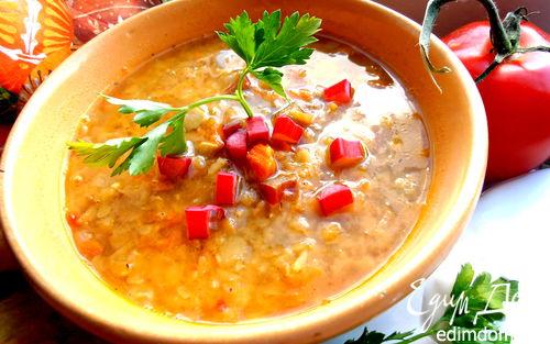 Рецепт Необычная чечевичная похлебка с сельдереем и ревенем