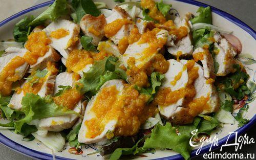 Рецепт Салат с курицей, фенхелем и кинзой