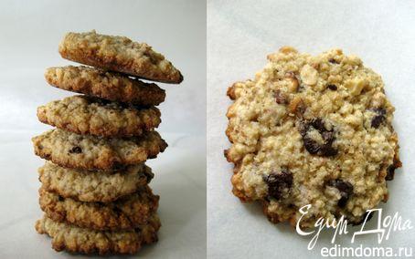 Рецепт Овсяное печенье с шоколадом и орехами
