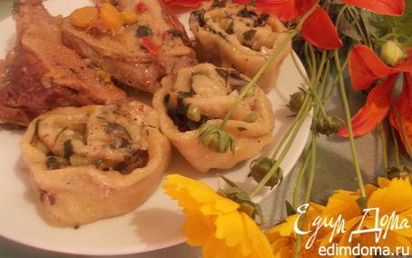 Рецепт Утка с молодым картофелем и луковым штруделем
