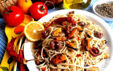 Рецепт Быстрые спагетти с мидиями от Джейми Оливера для Вики (Ла Ванда)
