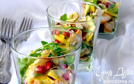 Рецепт Салат из копченой курицы, манго и авокадо