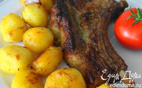 Рецепт Запеченная свинина на косточке с молодым картофелем