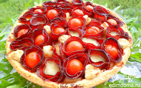 Рецепт Лимонный тарт с помидорками черри, моцареллой и бастурмой