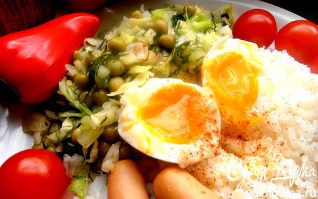 Рецепт Свежий салатик из капусты с горошком и имбирем