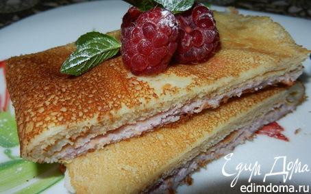 Рецепт Сырные блинчики с творожно-малиновой начинкой