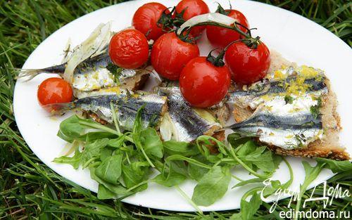 Рецепт Сардинки, запеченные с фенхелем и помидорами черри