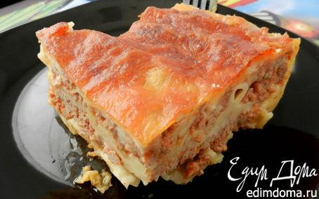 Рецепт Быстрая мясная многослойная лазанья с творогом