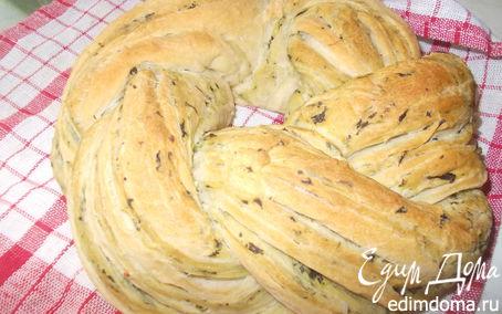 Рецепт Калач плетеный с чесноком и шпинатом
