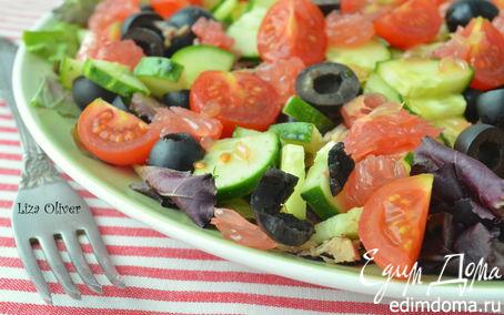 Рецепт Салат с тунцом и свежими овощами под вкуснейшей заправкой