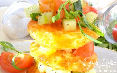 Рецепт Сырный мильфей с легким овощным салатом (Cheese millefeuille with vegetable salad)
