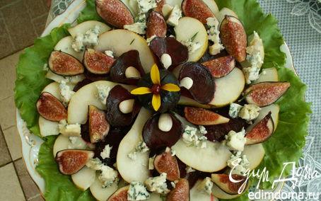 Рецепт салат с карамелизированной свеклой, грушей и инжиром