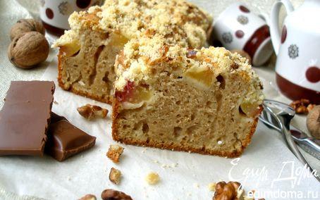 Рецепт Ароматный кекс с персиками и ореховым штрейзелем