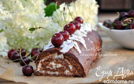 Рецепт Шоколадный рулет с кокосовым кремом