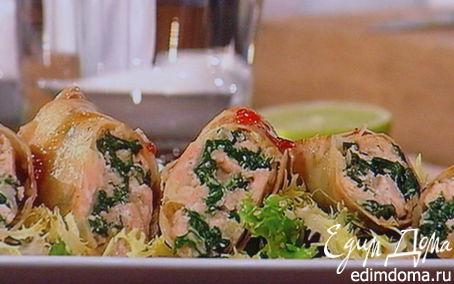 Рецепт Спринг-роллы с лососем и свежим шпинатом
