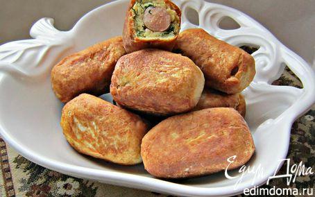 Рецепт Пирожки с сосисками из творожного теста