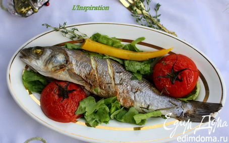 Рецепт Сибас, запеченный с томатами и травами