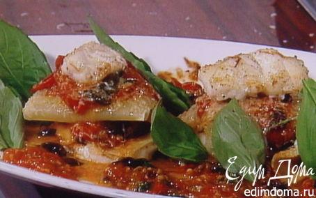 Рецепт Рыбная лазанья с оливками