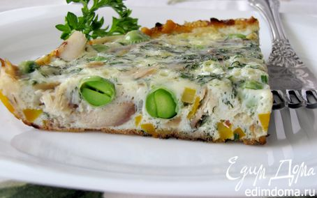 Рецепт Фриттата с копченой скумбрией и зеленым горошком