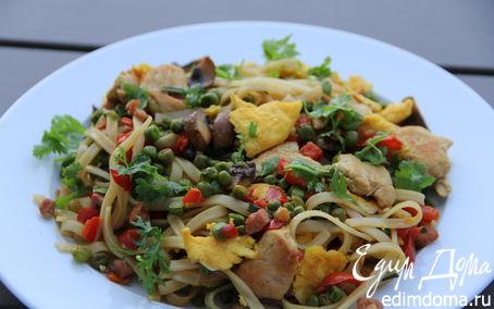 Рецепт Лапша с курицей и овощами по-сингапурски