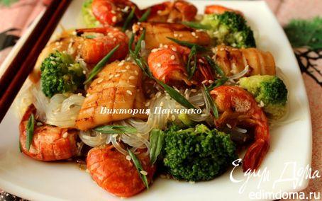 """Рецепт Рисовая лапша с брокколи и морепродуктами (""""Неделя японской кухни"""")"""