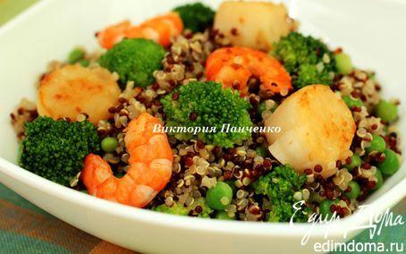 Рецепт Теплый салат из киноа с морепродуктами и овощами