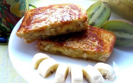 Рецепт Хрустящий тост с карамельным бананом