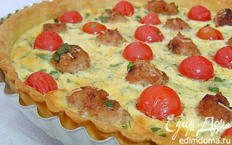Рецепт Киш с помидорами черри и мясными шариками