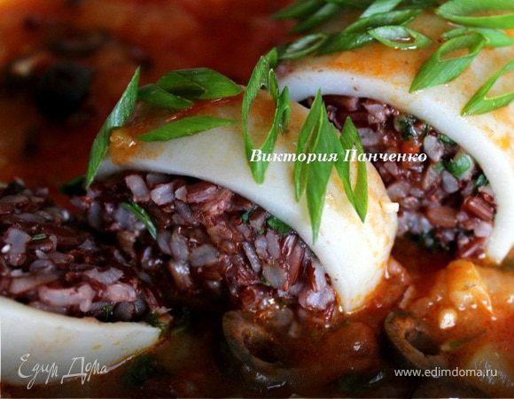 Кальмар, фаршированный красным рисом