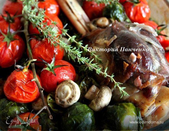 Баранина, запеченная с шампиньонами и брюссельской капустой