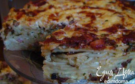 Рецепт Макаронный торт с сыром, ветчиной и вялеными помидорами