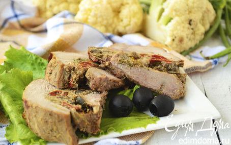 Рецепт Телятина, фаршированная пикантной начинкой с куриной печенью