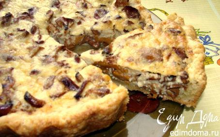 Рецепт Песочный пирог с лисичками и сыром Джюгас