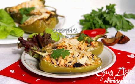 Рецепт Перцы, запеченные с грибами под шапочкой из миндаля и сыра Джюгас