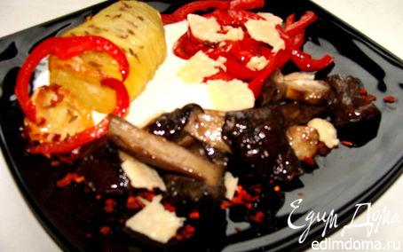 Рецепт Жаркое из грибов с паприкой и сыром Джюгас