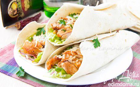 Рецепт Тортильи с острой курицей, овощами и сыром Джюгас