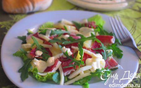 Рецепт Салат с сырокопченым окороком, сыром и ананасами