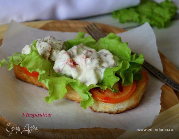 Салат-бутерброд с копченой семгой