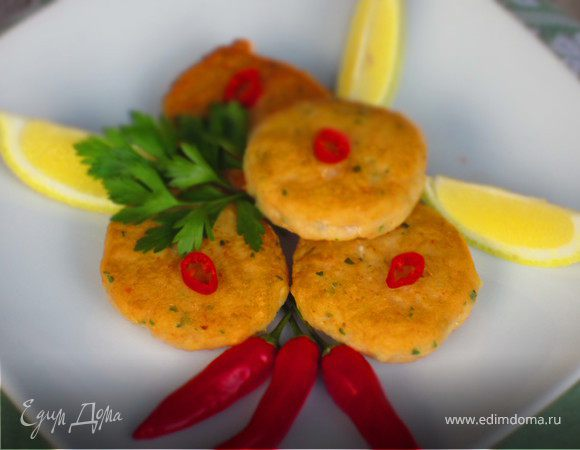 Рыбные котлетки с креветками