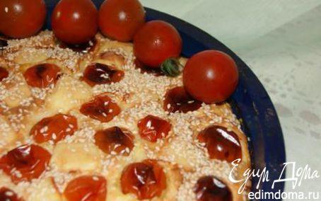 Рецепт Пирог с ветчиной, сыром и помидорами